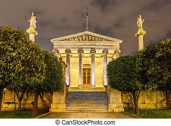 edificio, academia, atenas, principal, grecia