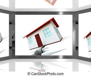 edificio, actuación, pantalla, daño, cimientos, agrietado, ...