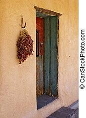 edificio, adobe, méxico, -, puerta, nuevo