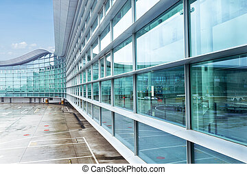 edificio, aeropuerto, exterior