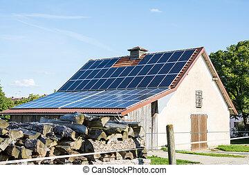edificio agrícola, con, paneles solares