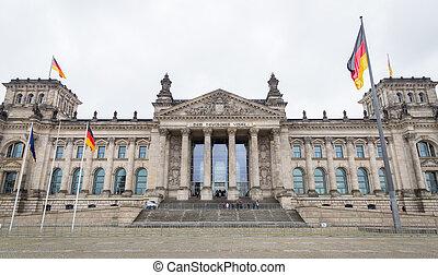edificio, alemán, alemania, berlín, reichstag, parlamento