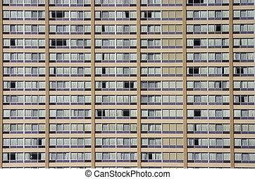 edificio, apartamento, cara