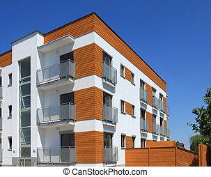 edificio, apartamento, contemporáneo