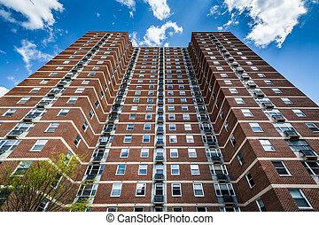 edificio, apartamento, monte, maryland., baltimore, vernon, ...