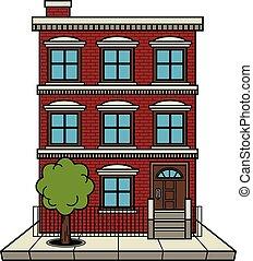 edificio, apartamento, vector