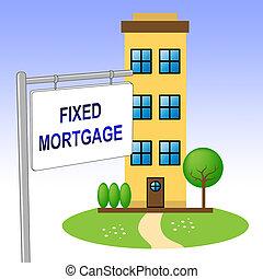 edificio, aprieto, préstamo de hipoteca, -, ilustración, o, ...
