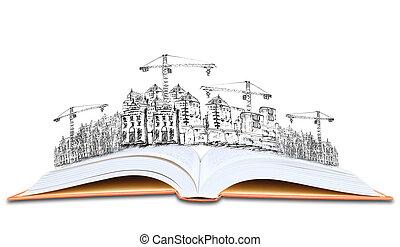 edificio, arquitectura, construcción, libro, abierto, ...