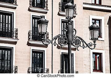 edificio, arquitectura, madrid., viejo, apartamento, spain...