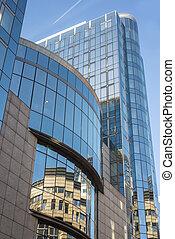 edificio, azul, moderno, cielo, contra