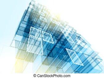 edificio azul, oficina, pared, moderno, vidrio