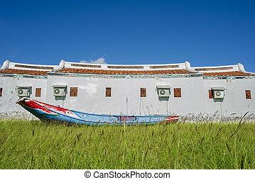edificio, azul, pradera, barco, de madera, cielo, asia, ...