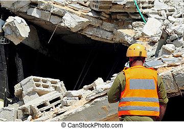 edificio, búsqueda, rescate, después, escombro, por, ...