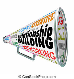edificio, b, relación, reforzar, megáfono, megáfono, amistad
