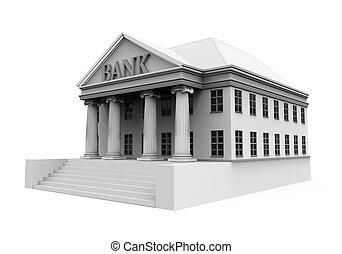 edificio, banco, ilustración