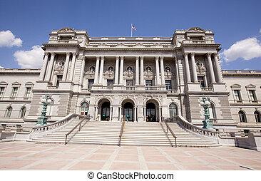 edificio, biblioteca,  Washington, CC, congreso