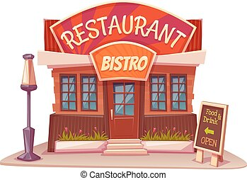 edificio, bistro, restaurante, ilustración, brillante, ...