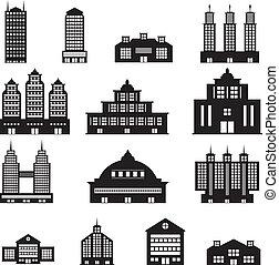edificio, blanco, conjunto, negro, 4