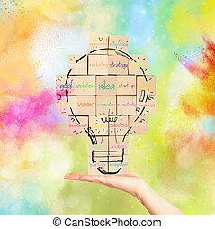 edificio, bombilla, pared, creativo, idea., nuevo, dibujado, ladrillo