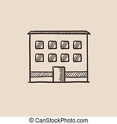 edificio, bosquejo, icon., oficina
