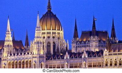 edificio, budapest, parlamento, lejos, cámara, se mueve, night.