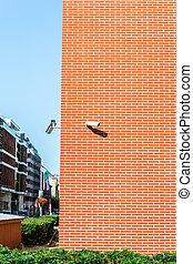 edificio, cámara, pared, ladrillo, rojo, seguridad