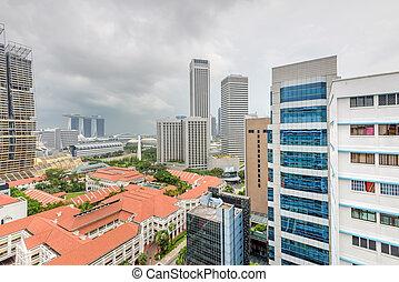 edificio, céntrico, nublado, vista aérea, complejo, cielo, singapur, contornos, hdb
