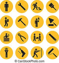 edificio, círculo, construcción, amarillo, iconos