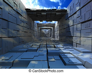 edificio, cajas, abstrac