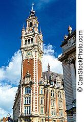 edificio, campanario, lille, francia, cámara, histórico,...