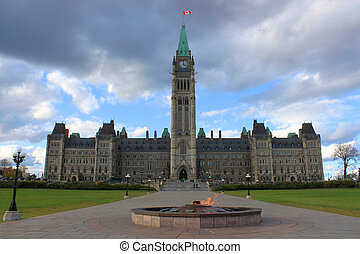 edificio, canadá, parlamento, ottawa