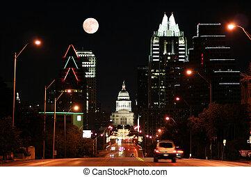 edificio, capitolio, céntrico, estado, noche, tejas, austin