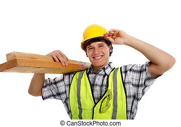 edificio, carpintero, joven, materiales, tenencia, feliz