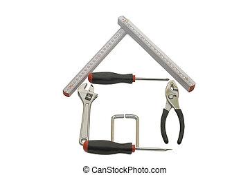 edificio, casa, blanco, herramientas, aislado