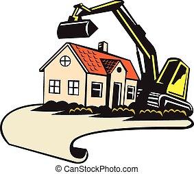 edificio, casa, demolición, eliminación