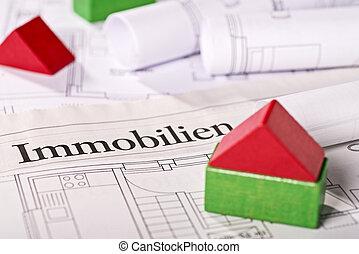 edificio, casa, planos, bloques, pequeño