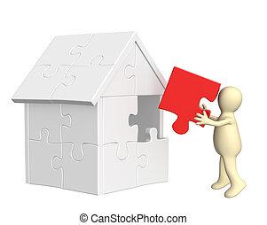 edificio, casa, títere, 3d