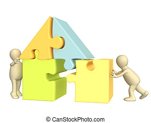 edificio, casa, títeres, 3d