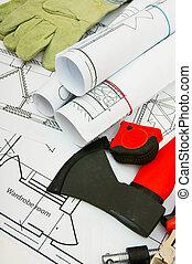 edificio, casa, tools., dibujos, trabajando