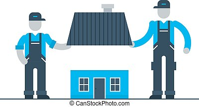 edificio, casa, trabajadores, renovación, estación