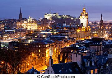 edificio, castillo de edimburgo, escocia, contornos