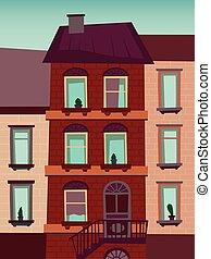 edificio, catroon, vector, ilustración, casa
