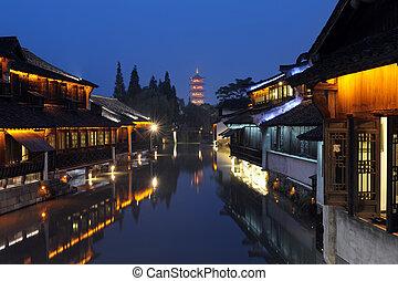 edificio, china, escena, noche