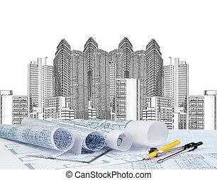 edificio, cianotipo, moderno, el bosquejar, plan