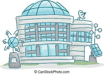 edificio, ciencia, laboratorio