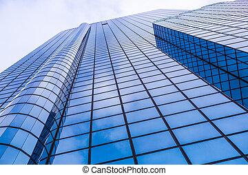 edificio, cierre, comercial, arriba