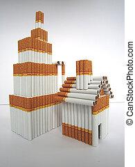edificio, cigarrillos, modelo