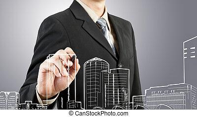 edificio, cityscape, empate, hombre de negocios