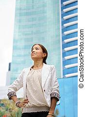 edificio, ciudad, ambulante, corporación mercantil de mujer,...