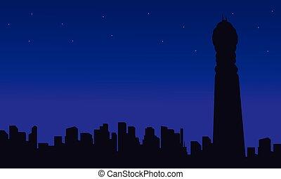 edificio, ciudad, bt, siluetas, londres, torre